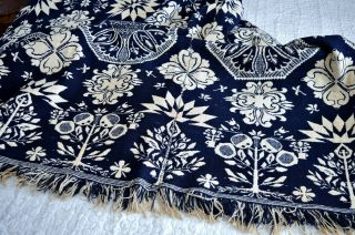 Antique 19th c Jacquard Coverlet Dated 1845 with Rare Deer & Hunters Border 5
