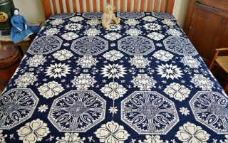 Antique 19th c Jacquard Coverlet Dated 1845 with Rare Deer & Hunters Border 6