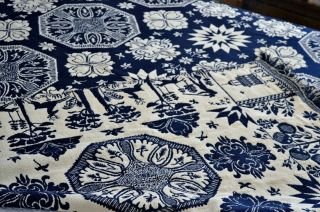 Antique 19th c Jacquard Coverlet Dated 1845 with Rare Deer & Hunters Border 7