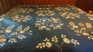 Antique Early 1800 Blue Floral White Applique Quilt Nc Museum Clark Andover Ny
