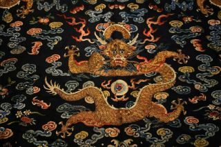 Antique Qing Dynasty Chinese Silk Embroidery Dragon Robe Rank Badge 10