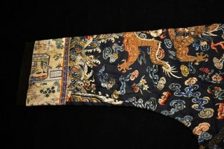 Antique Qing Dynasty Chinese Silk Embroidery Dragon Robe Rank Badge 2