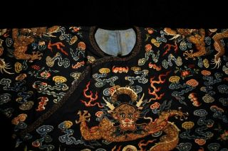 Antique Qing Dynasty Chinese Silk Embroidery Dragon Robe Rank Badge 3