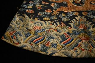 Antique Qing Dynasty Chinese Silk Embroidery Dragon Robe Rank Badge 8