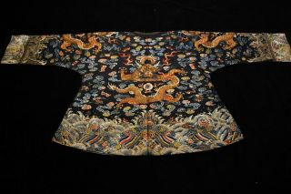 Antique Qing Dynasty Chinese Silk Embroidery Dragon Robe Rank Badge 9