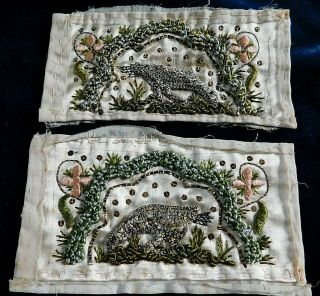 Small Antique Georgian Embroidered Silk Panels,  Couch Work Birds Motifs