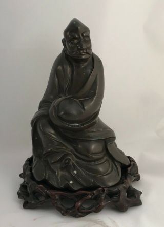 Antique Chinese Bronze Statue Figure LUOHAN Late 17th 18th Century Qing 2