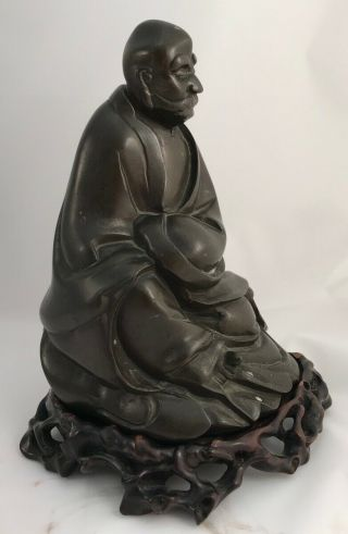Antique Chinese Bronze Statue Figure LUOHAN Late 17th 18th Century Qing 3