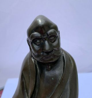 Antique Chinese Bronze Statue Figure LUOHAN Late 17th 18th Century Qing 9
