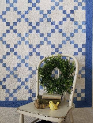 """Master Quilting Early Antique Lancaster Blue & White Irish Chain Quilt 80x77 """""""