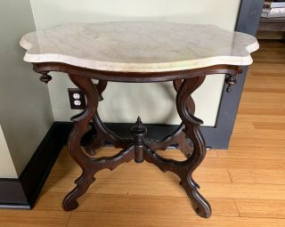 Antique Rosewood Victorian Marble Turtle Top Table