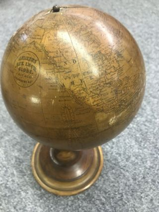 "Antique 1880's A.  H.  Andrews 6"" Globe With Stand"