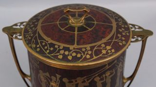 Antique Erhard & Sohne Secessionist Inlaid Brass Rosewood Arts Crafts Humidor 8