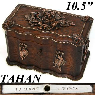 """Rare Antique French Tahan Marked 10.  5"""" Oak Box,  Hunt Themed Figural Accents"""