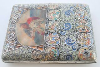RARE RUSSIAN ENAMEL HAND PAINTED SIGNED C.  C CIGARETTE CASE 84 SILVER RUBY SET 11