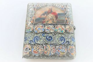 RARE RUSSIAN ENAMEL HAND PAINTED SIGNED C.  C CIGARETTE CASE 84 SILVER RUBY SET 12