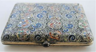 RARE RUSSIAN ENAMEL HAND PAINTED SIGNED C.  C CIGARETTE CASE 84 SILVER RUBY SET 8