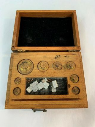 Vintage Antique Brass Balance Scale Weights In Wood Box