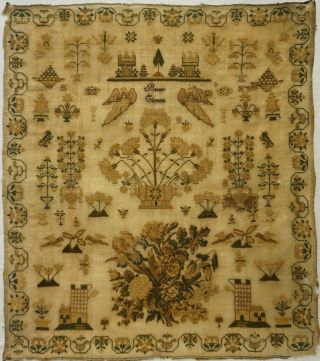 Mid 19th Century Floral Spray,  Castle & Motif Sampler By Betsey Clemens - C.  1845