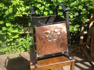 Arts & Crafts Copper And Iron Log Basket