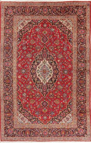 Vintage Traditional Floral Oriental Area Rug Hand - Knotted Wool Red Carpet 8x11