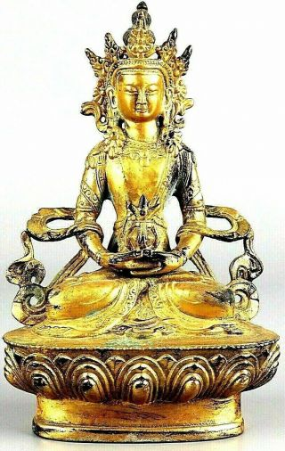 Antique Chinese Gold Gilt Buddha Statue Figure Very Old Sitting On Lotus Flower
