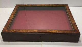 Vintage Hand Crafted Wood Show Or Display Case With Burl Design