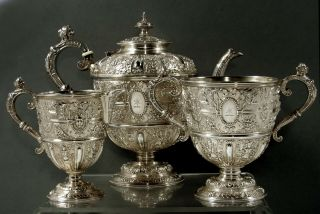 English Sterling Tea Set 1881 Cellini - Renaissance Revival