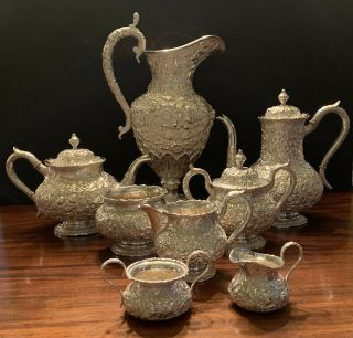 Repoussee Sterling Silver Tea Set And Water Pitcher