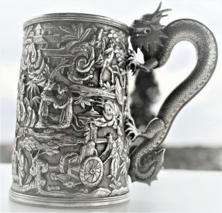 Rare Antique Chinese Export Silver Dragon Handlec Battle Scene Cup