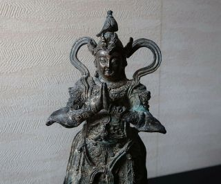 Very Rare Chinese Antique Gilt Bronze Figure Of A Guardian Ming Dynasty?