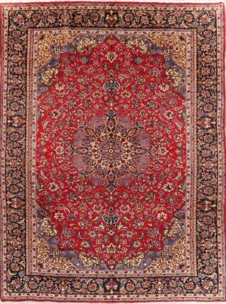Traditional Vintage Floral Area Rug Hand - Knotted Wool Oriental Carpet 10 X 13