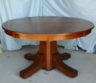 "Antique Mission Arts & Crafts Round Oak Dining Table – Stickley Brothers - 54 "" T"