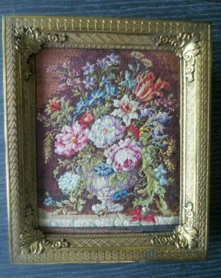 Antique Floral Needlepoint Petitpoint Tapestry Gold Frame Made In Austria