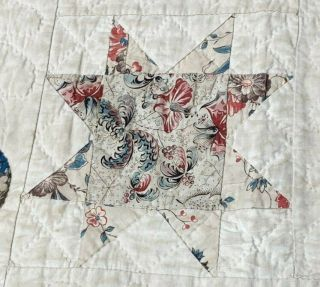 Early c 1830 - 40s Star Quilt Antique Swags Tassel 60 STARs Brillant Blue 11