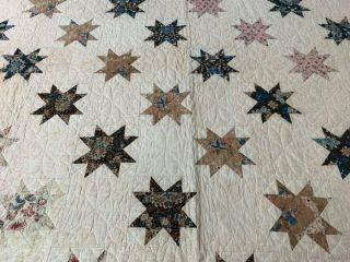 Early c 1830 - 40s Star Quilt Antique Swags Tassel 60 STARs Brillant Blue 12