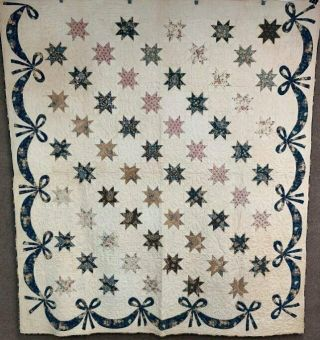 Early C 1830 - 40s Star Quilt Antique Swags Tassel 60 Stars Brillant Blue