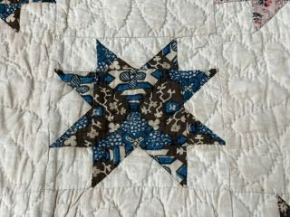 Early c 1830 - 40s Star Quilt Antique Swags Tassel 60 STARs Brillant Blue 2