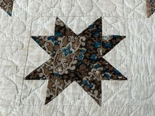 Early c 1830 - 40s Star Quilt Antique Swags Tassel 60 STARs Brillant Blue 3