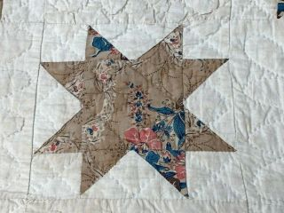 Early c 1830 - 40s Star Quilt Antique Swags Tassel 60 STARs Brillant Blue 4