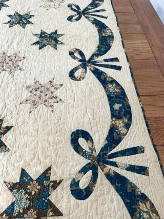 Early c 1830 - 40s Star Quilt Antique Swags Tassel 60 STARs Brillant Blue 6