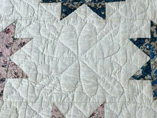 Early c 1830 - 40s Star Quilt Antique Swags Tassel 60 STARs Brillant Blue 7
