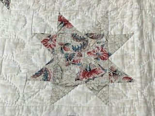 Early c 1830 - 40s Star Quilt Antique Swags Tassel 60 STARs Brillant Blue 8