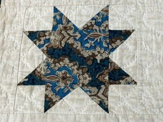 Early c 1830 - 40s Star Quilt Antique Swags Tassel 60 STARs Brillant Blue 9
