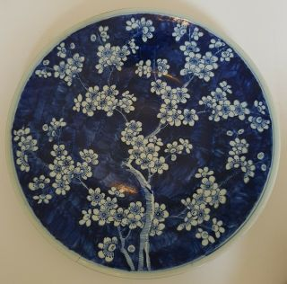 Very Large Antique Chinese Porcelain Prunus Blossom Blue & White Plate/dish