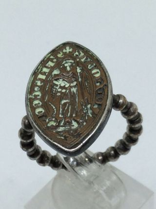 Medieval Rare 13th - 15th Century Silver Bronze Navette Shape Seal Ring.  P Us 55.  5