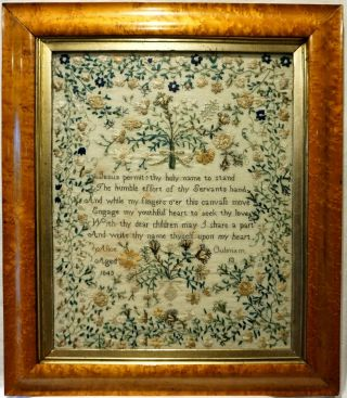 Mid 19th Century Verse & Floral Spray Sampler By Alice Oulsnam Aged 13 - 1843