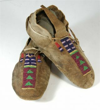 Ca1880s Pair Native American Arapaho Indian Bead Decorated Hide Moccasins Beaded