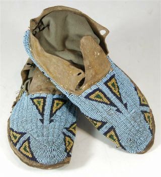 1880s Pair Native American Cheyenne Indian Bead Decorated Hide Moccasins Beaded