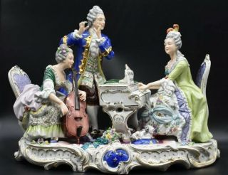 """Volkstedt Dresden German Victorian Piano Musical 15 """" Figural Group Figurine"""